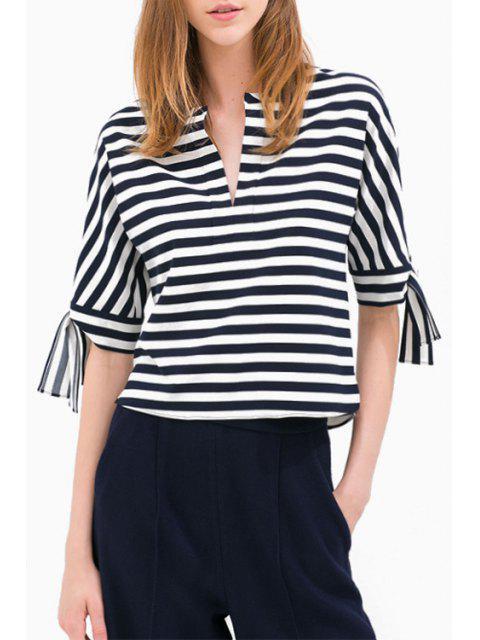 Blusa de manga larga con cuello en V rayado - Blanco y Negro 2XL Mobile