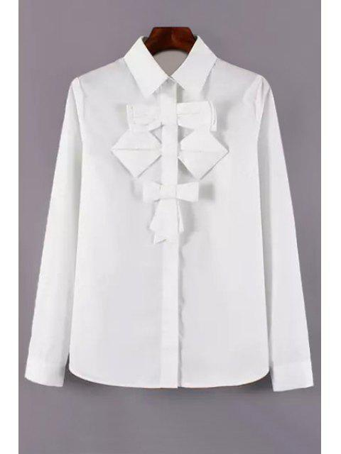 trendy Single-Breasted Bowknot Embellished White Shirt - WHITE L Mobile