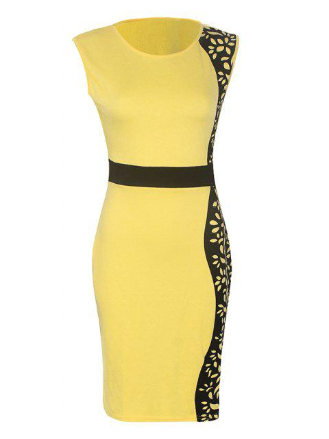 hot Black Print Floral Pattern Sleeveless Dress - YELLOW S Mobile