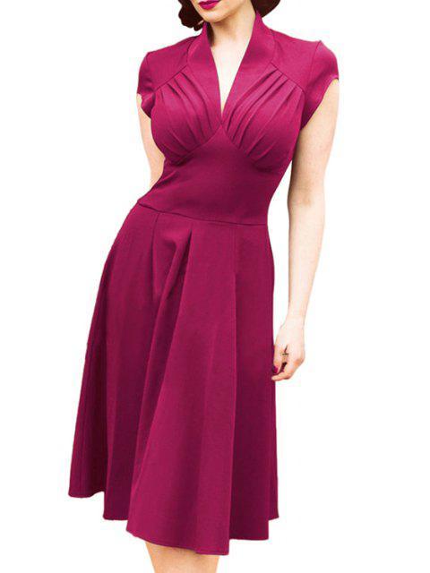 online V-Neck Solid Color Ruffle Short Sleeve Dress - VIOLET XL Mobile