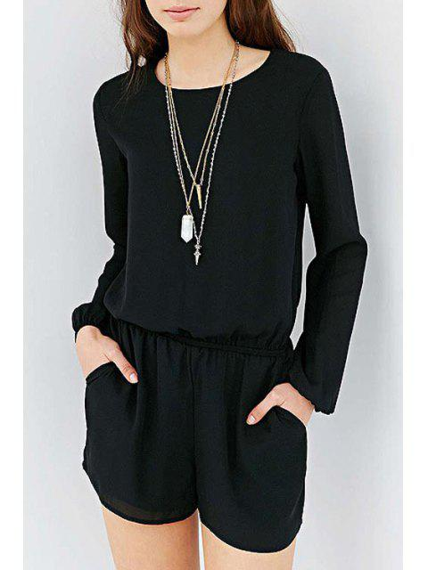 new Black Chiffon Long Sleeve Playsuit - BLACK S Mobile