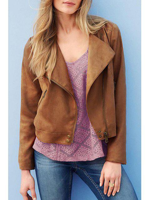 Brown Turn-Down Collar Veste à manches longues - Brun 2XL Mobile