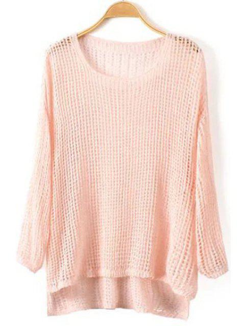fashion High Low Hem Long Sleeve Knitwear - PINK ONE SIZE(FIT SIZE XS TO M) Mobile