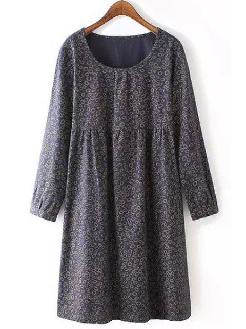 new Tiny Floral Scoop Neck Long Sleeve Dress - CADETBLUE 2XL Mobile