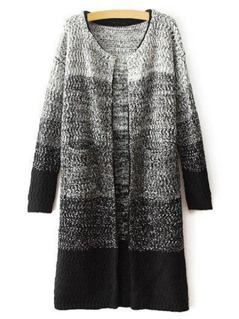 best Ombre Color Long Sleeve Cardigan - GRAY ONE SIZE(FIT SIZE XS TO M) Mobile