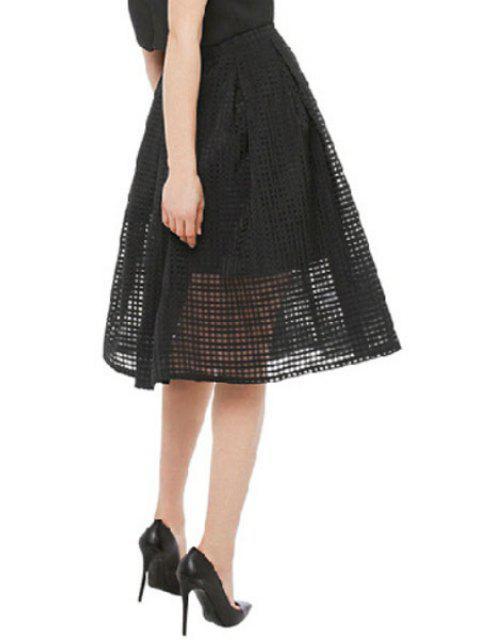 new See-Through Ruffle Midi Skirt - BLACK L Mobile