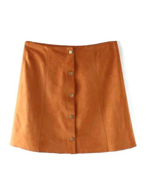 best Faux Leather High Wasited A Line Skirt - KHAKI S Mobile