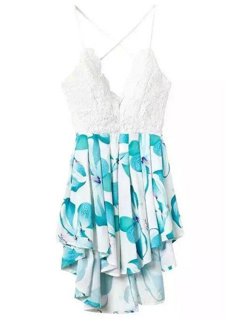 hot Floral Print Spliced Spaghetti Strap Playsuit - TURQUOISE S Mobile