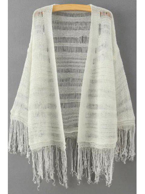 womens Solid Color Fringe Spliced See-Through Cardigan - OFF-WHITE ONE SIZE(FIT SIZE XS TO M) Mobile