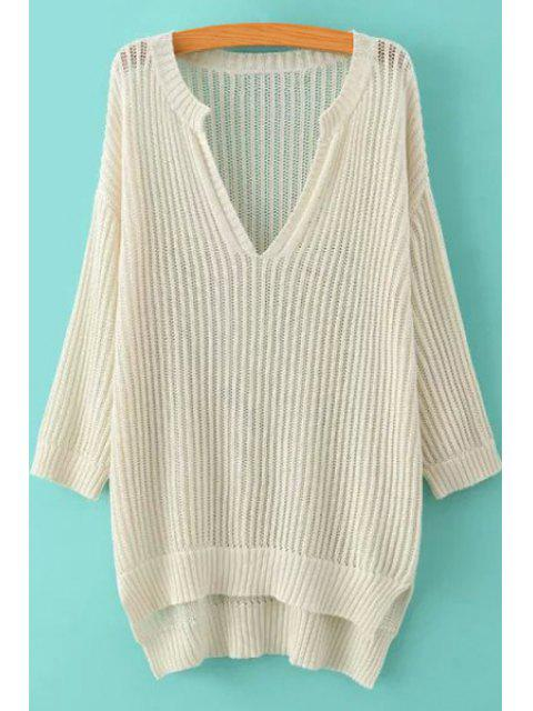 best Soild Color High-Low Hem Hollow Sweater - OFF-WHITE L Mobile