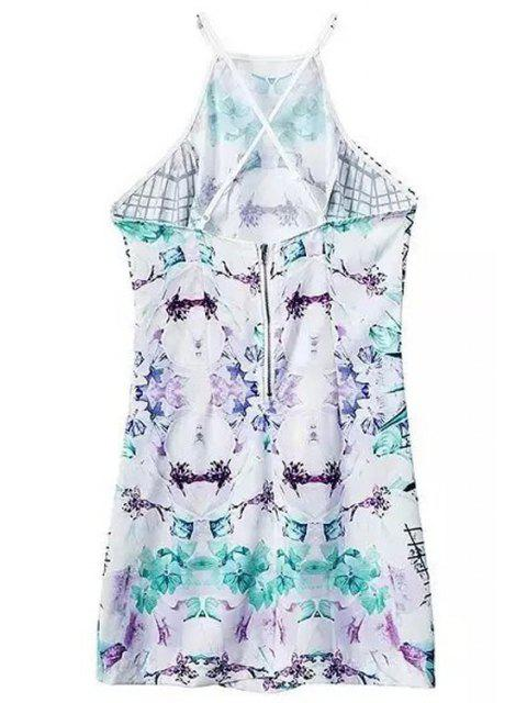 women's Abstract Print Cami Mini Dress - WHITE AND GREEN M Mobile