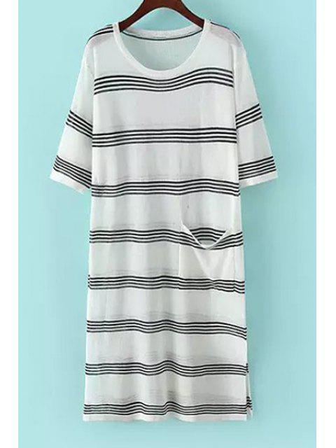 hot Jewel Neck Stripe Pocket Short Sleeve Dress - WHITE AND BLACK ONE SIZE(FIT SIZE XS TO M) Mobile