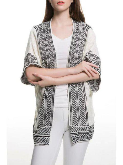 latest Stripe Argyle Pattern Short Sleeve Cardigan - WHITE AND BLACK S Mobile