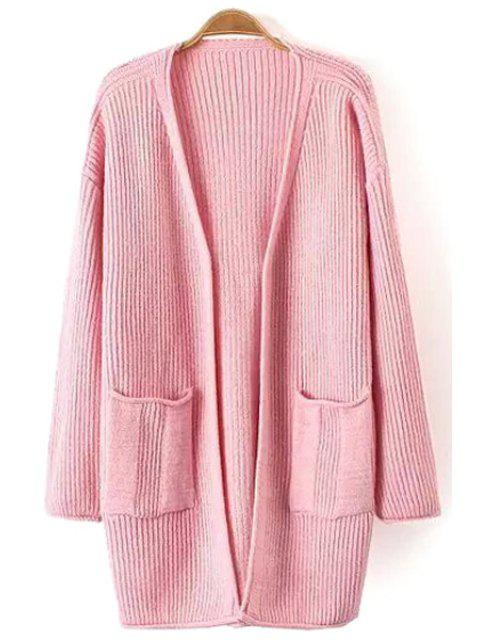 ladies Solid Color Pocket Design Long Cardigan - PINK ONE SIZE(FIT SIZE XS TO M) Mobile