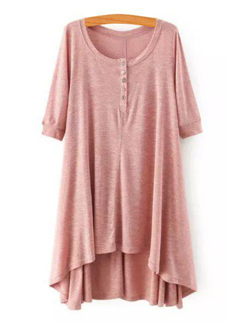 fashion High Low Scoop Neck Half Sleeve Dress - PINK M Mobile