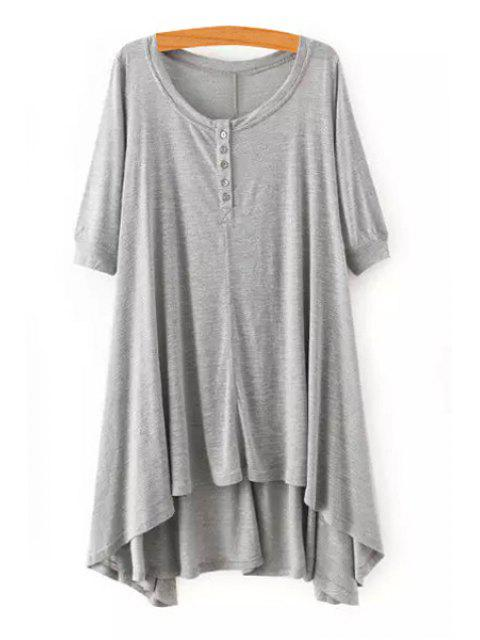 unique High Low Scoop Neck Half Sleeve Dress - GRAY S Mobile