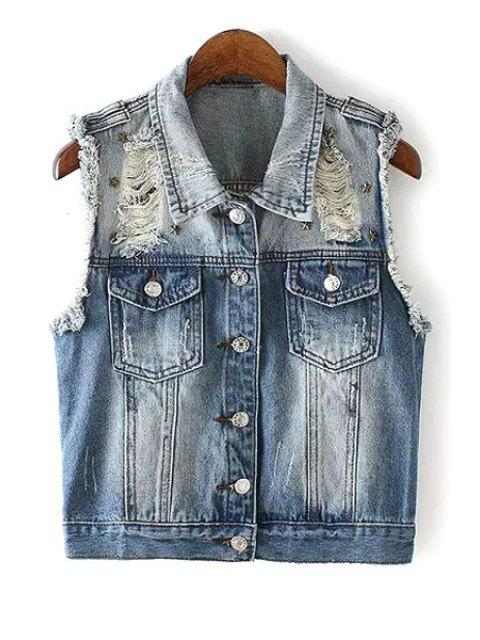 ladies Destroy Wash Rivet Embellished Denim Waistcoat - BLUE L Mobile