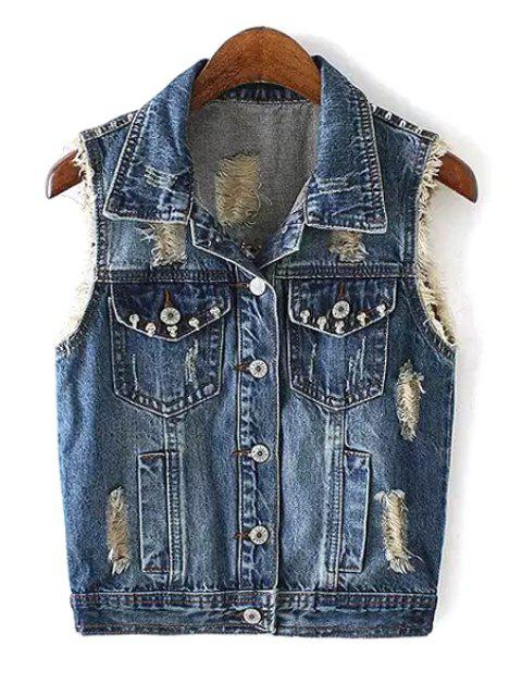 outfit Rivet Embellished Single-Breasted Denim Waistcoat - BLUE XL Mobile