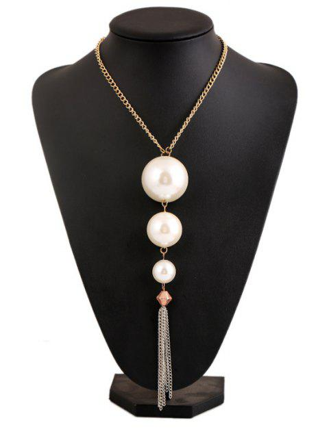 latest Faux Pearl Tassel Necklace - WHITE  Mobile
