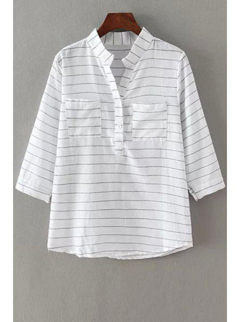 sale V-Neck Stripe Pocket 3/4 Sleeve Shirt - WHITE ONE SIZE(FIT SIZE XS TO M) Mobile