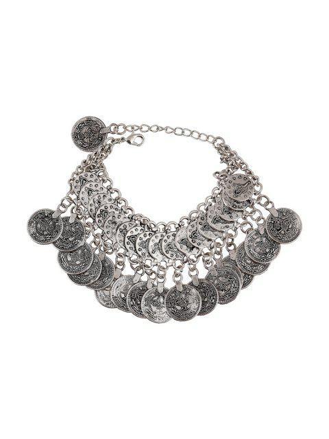 affordable Coin Pendant Bracelet - SILVER  Mobile