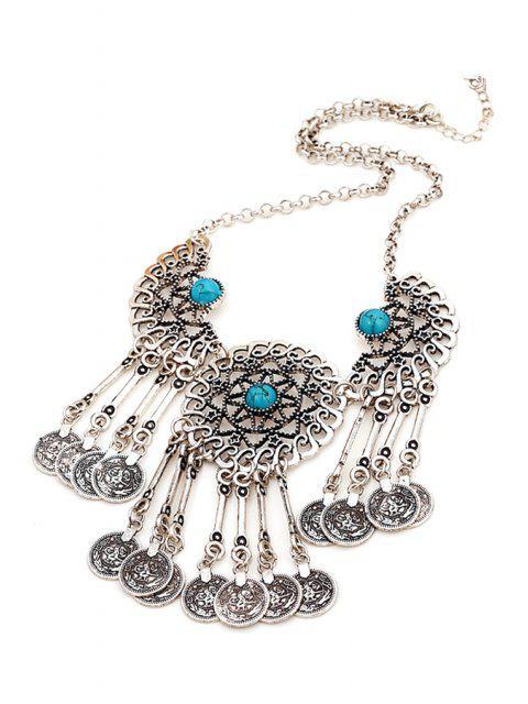 buy Coin Tassel Pendant Necklace - BLUE  Mobile
