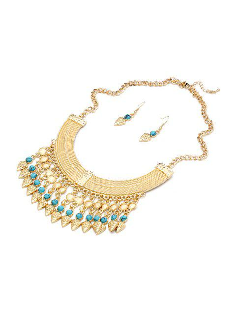 women's Turquoise Inlaid Necklace And Earrings - BLUE  Mobile