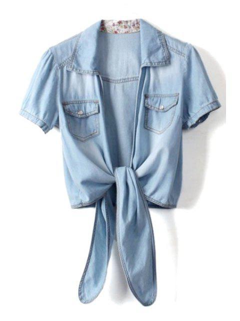 buy Light Blue Short Sleeve Denim Coat - LIGHT BLUE ONE SIZE(FIT SIZE XS TO M) Mobile