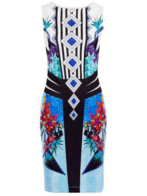 online Floral Print Stripes Bodycon Club Dress - BLUE M Mobile