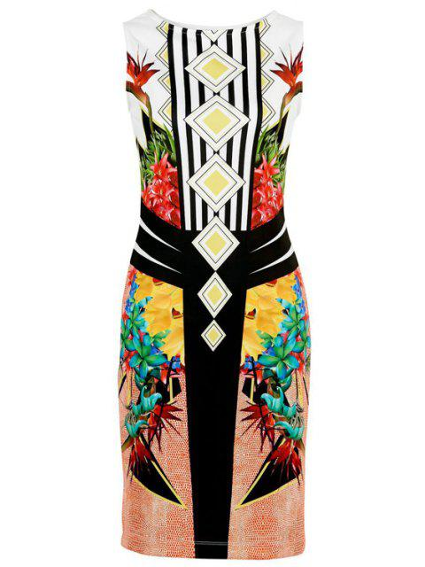 outfits Floral Print Stripes Bodycon Club Dress - YELLOW M Mobile