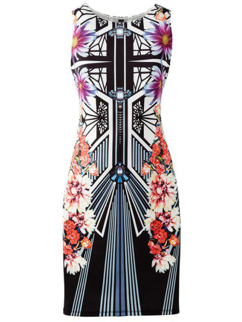 fashion Geometric and Flower Print Bodycon Club Dress - BLACK L Mobile