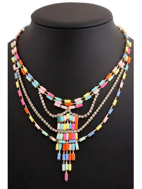 unique Colored Beads Rhinestone Necklace -   Mobile