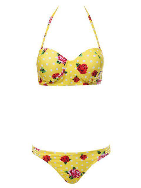 Bañador con estampado floral - Amarillo L Mobile