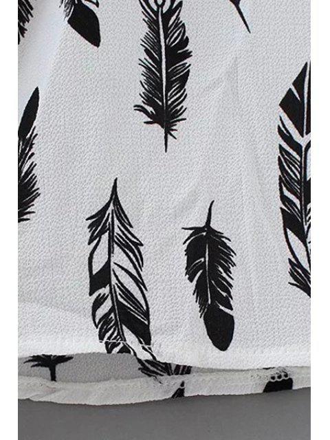 hot Full Feather Print Kimono Blouse - WHITE ONE SIZE(FIT SIZE XS TO M) Mobile