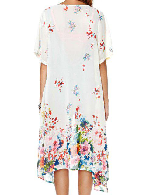 new Colorful Floral Short Sleeve Kimono - WHITE S Mobile