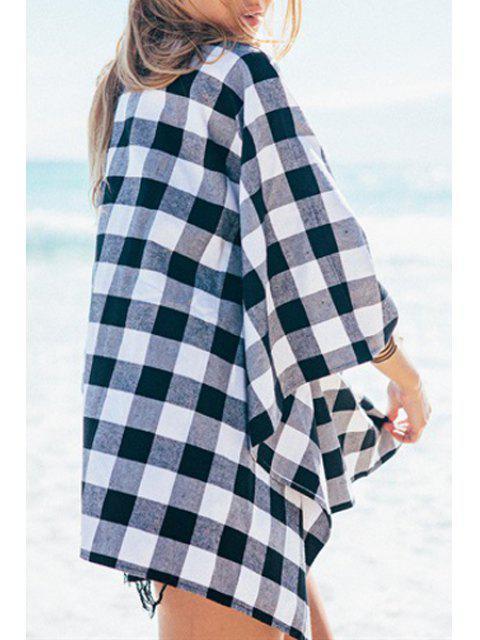 Chemisier à manches longues en coton sans collier - Blanc et Noir L Mobile