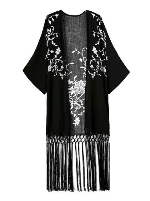 trendy White Floral Print Tassel Splicing Kimono - BLACK M Mobile