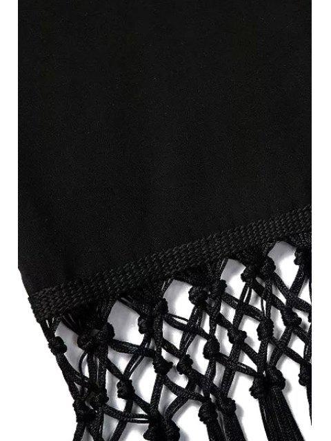 trendy White Floral Print Tassel Splicing Kimono - BLACK M Mobile