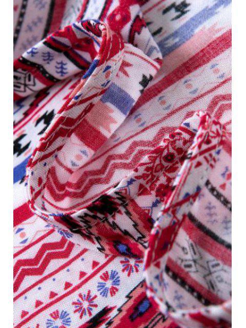 Blouse à manches courtes à rayures Argyle sans collier - Rose Rouge S Mobile