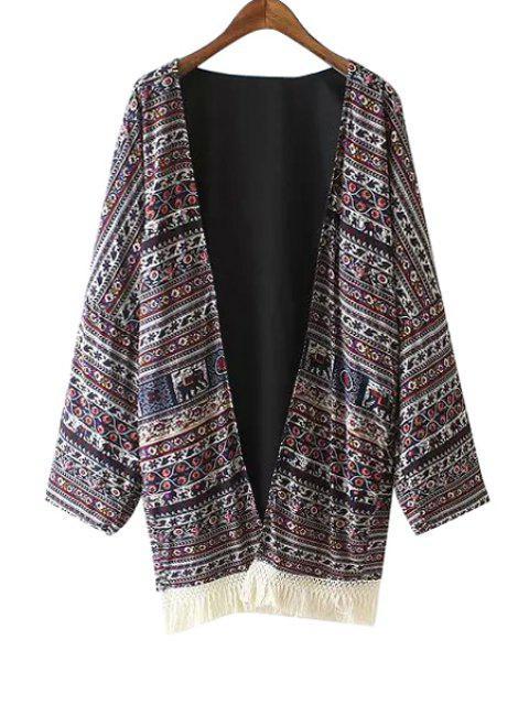 Colliers sans collier en épingle imprimé ethnique imprimé Kimono - Multicolore L Mobile