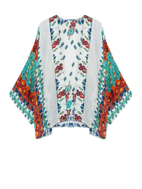 latest Green Red Floral Print Long Sleeve Kimono - TURQUOISE S Mobile