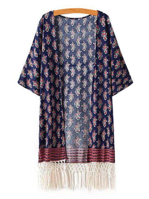 shops Tiny Floral Print Half Sleeves Kimono - PURPLISH BLUE ONE SIZE(FIT SIZE XS TO M) Mobile