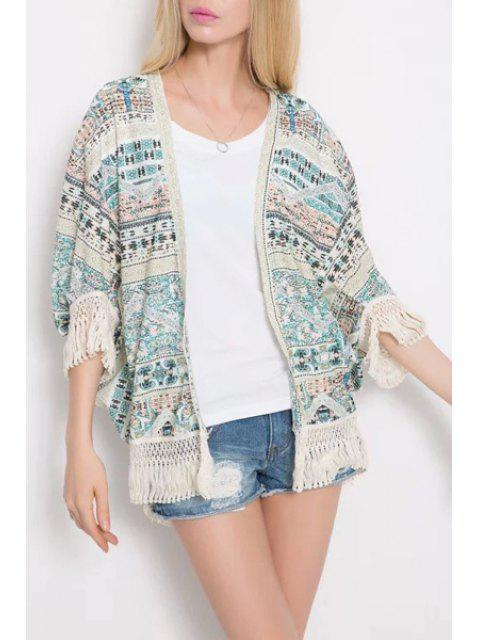 affordable Ethnic Print 3/4 Sleeve Kimono - WHITE AND GREEN M Mobile