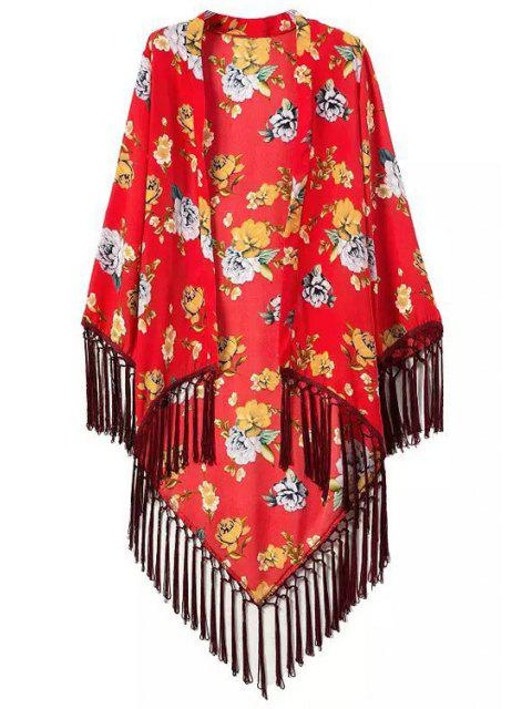 hot Floral Printed Tassel Splicing Long Sleeve Kimono - RED S Mobile