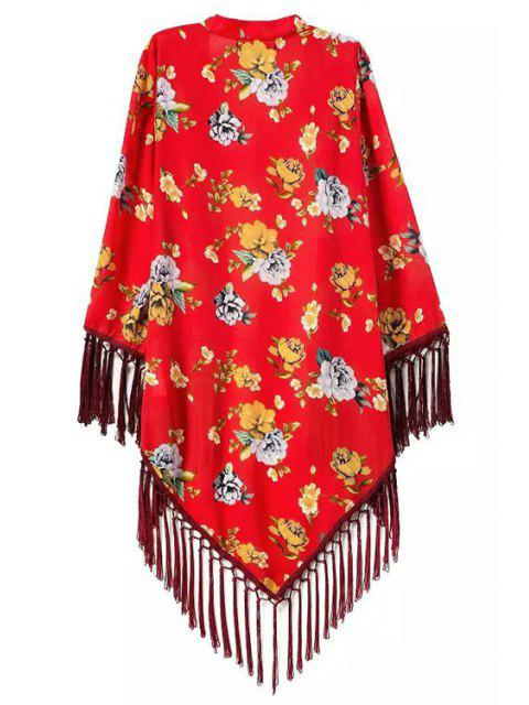 outfit Floral Printed Tassel Splicing Long Sleeve Kimono - RED M Mobile