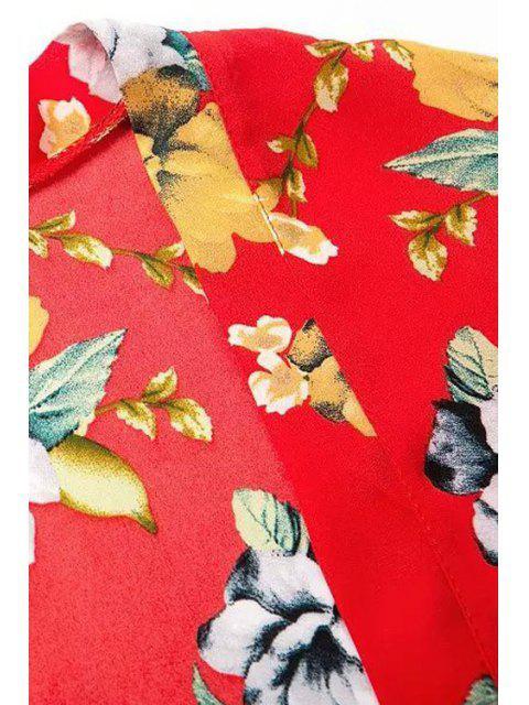 Kimono à manches longues imprimé floral à imprimé imprimé - Rouge L Mobile