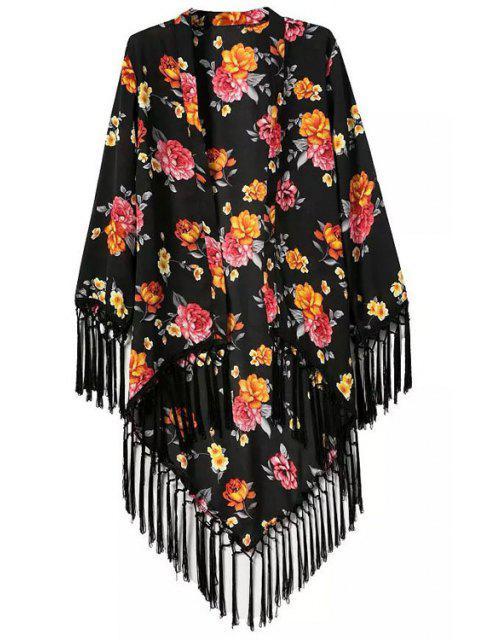 new Floral Printed Tassel Splicing Long Sleeve Kimono - BLACK L Mobile