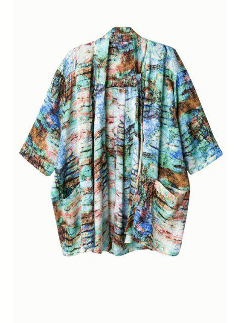 womens Print Collarless Half Sleeve Kimono - GREEN L Mobile