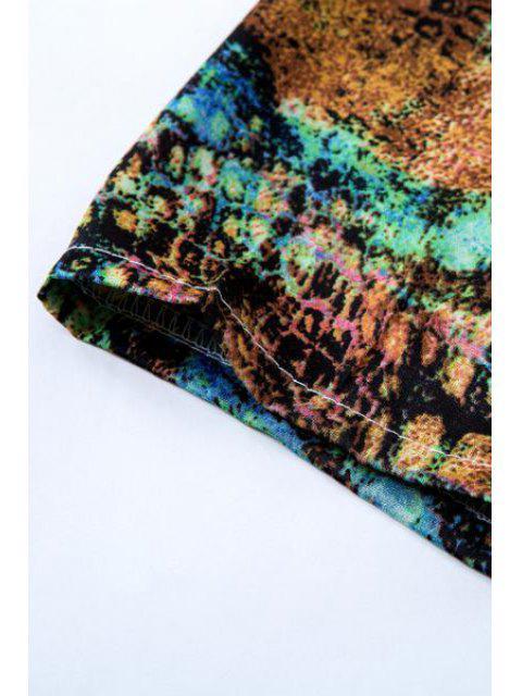 Imprimer Kimono à demi manches sans collier - Vert L Mobile
