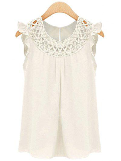 Round Neck Sleeveless Solid Color Openwork Flounce Chiffon Tank Top